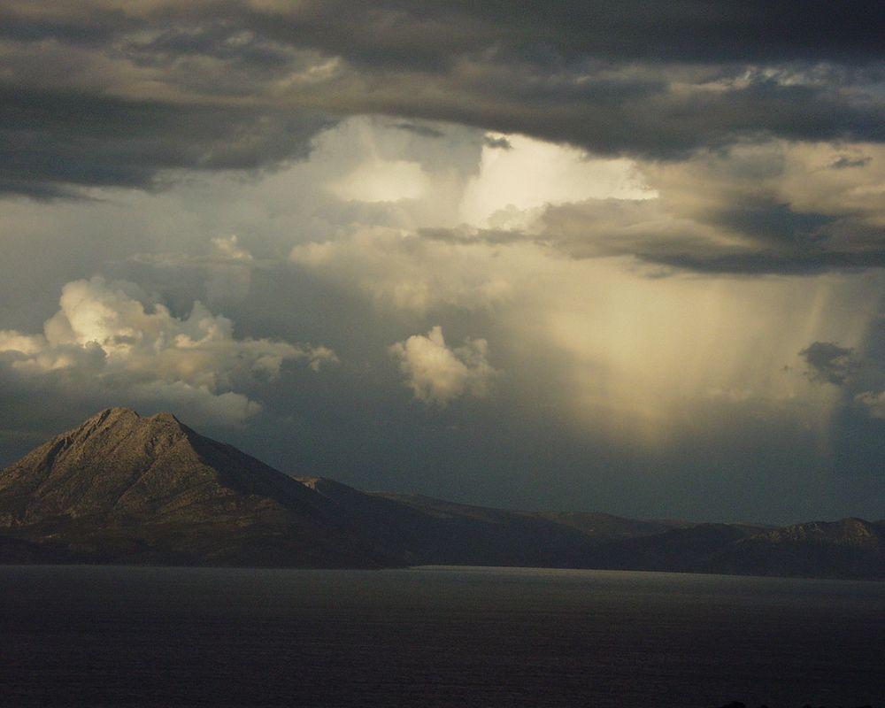 Wolkenbruch in 20 km Entfernung
