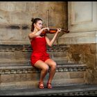 Woman in red solo