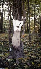 Woman is growing out a tree