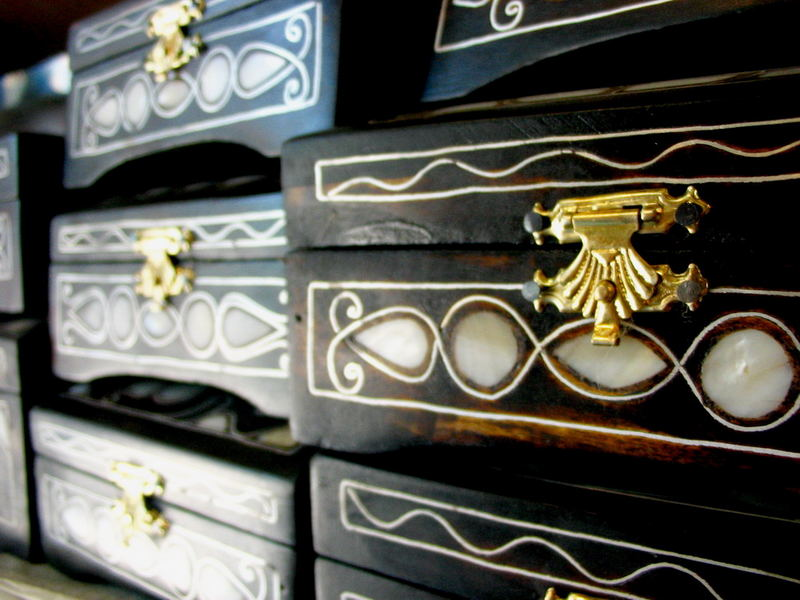 Wooden boxes ornamented with mother of pearl