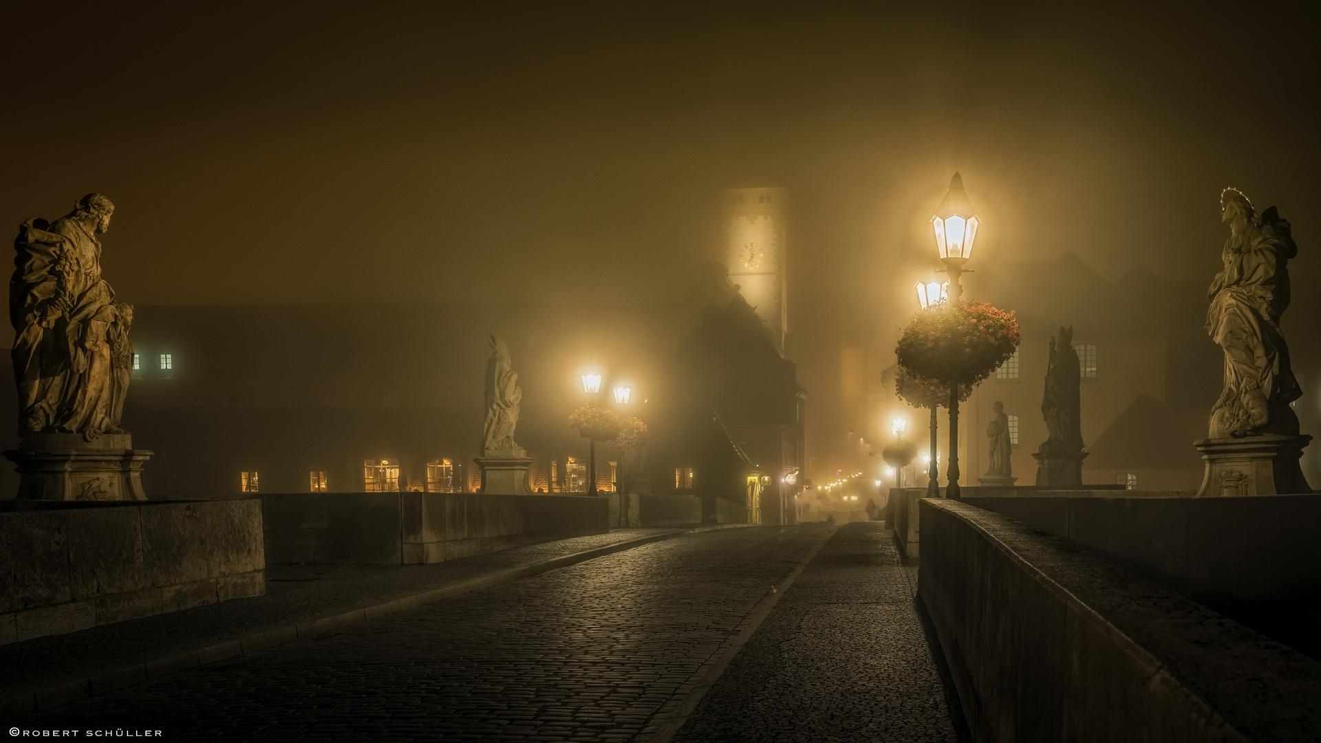 Würzburg und Nebel auf der Steinbrücke