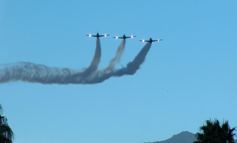 WW ll fighters over Palm Springs