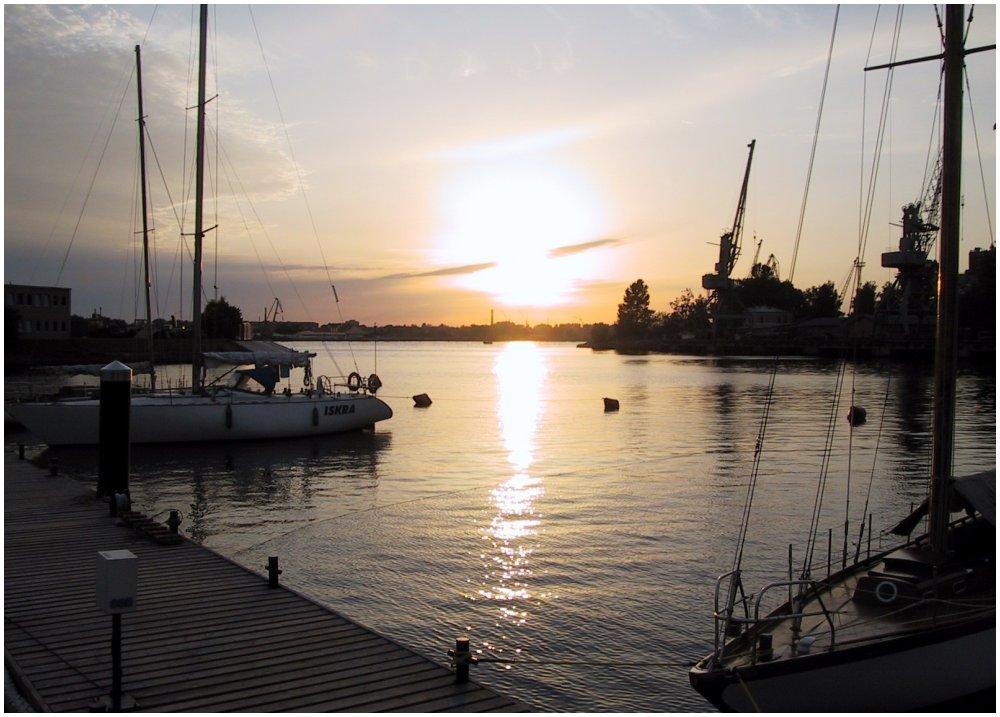 Yachthafen von Riga in der Abendsonne
