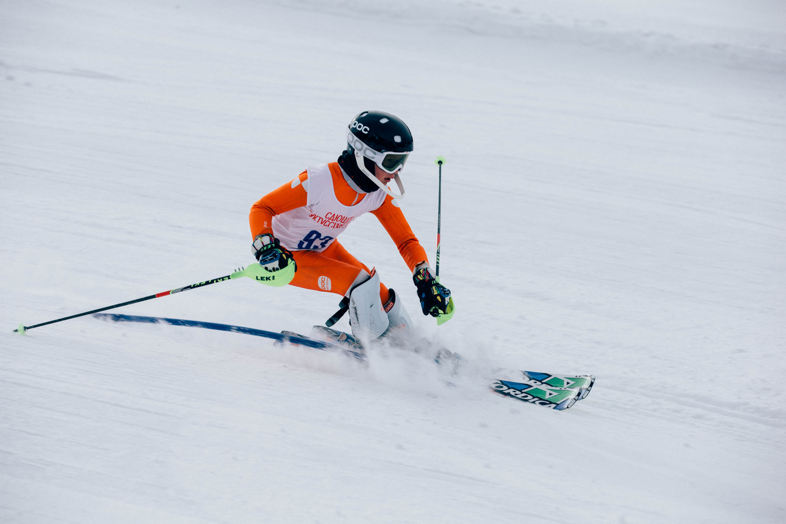 young skier, slalom