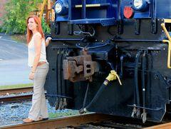 Young Woman and Train...,Blue Ridge Scenic Railway BLRX#7529, Georgia,USA