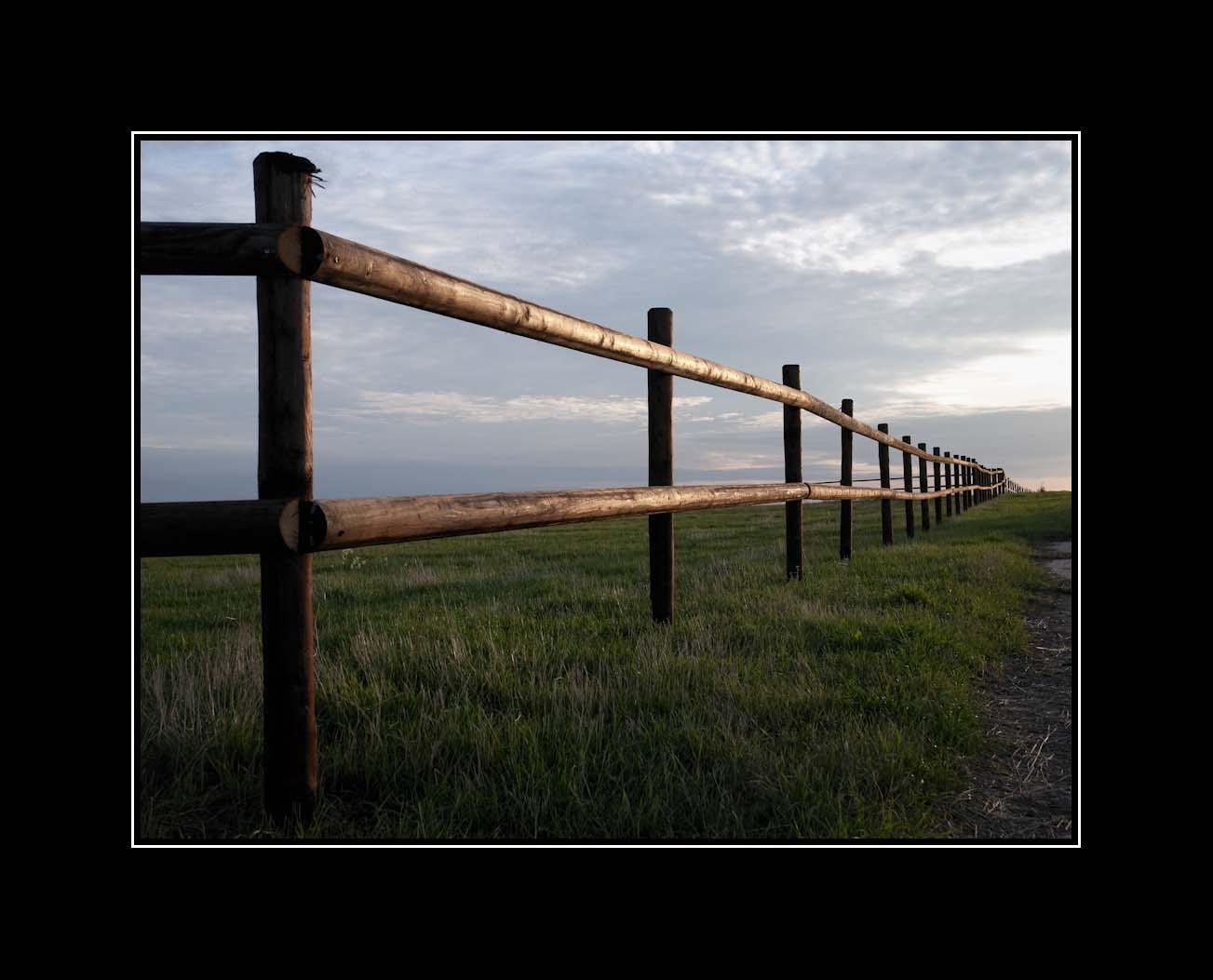 Zaun im Gegenlicht