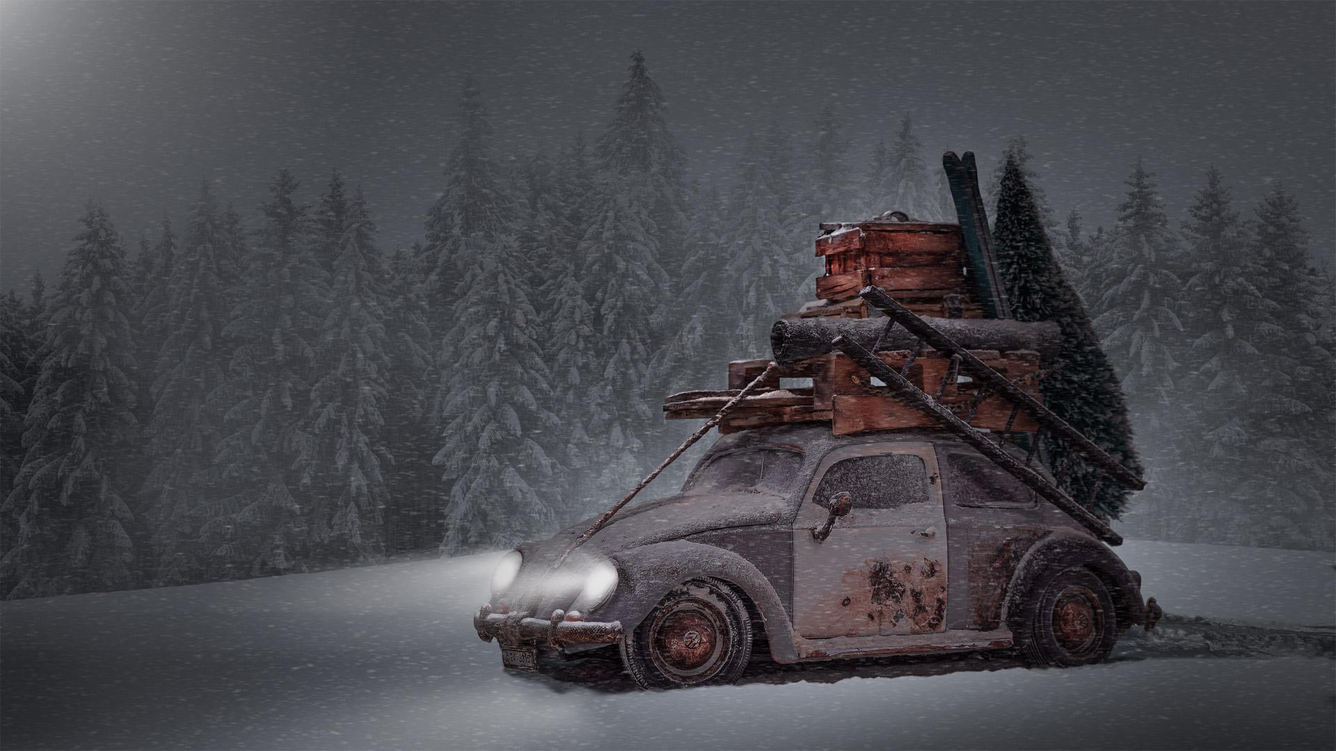 Zeit den Weihnachtsbaum zu holen