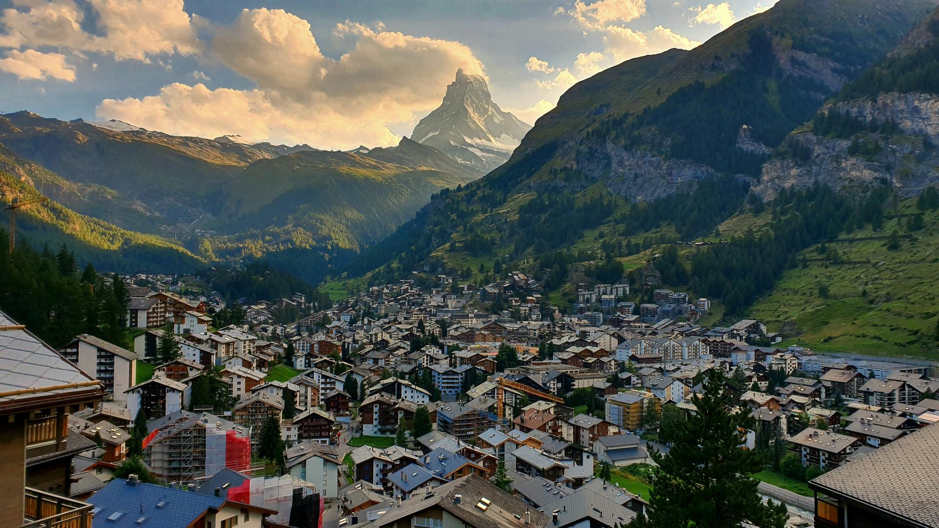 Zermatt town sunset