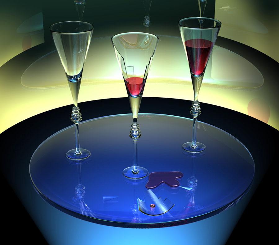 Zersplittertes Weinglas, Rotwein