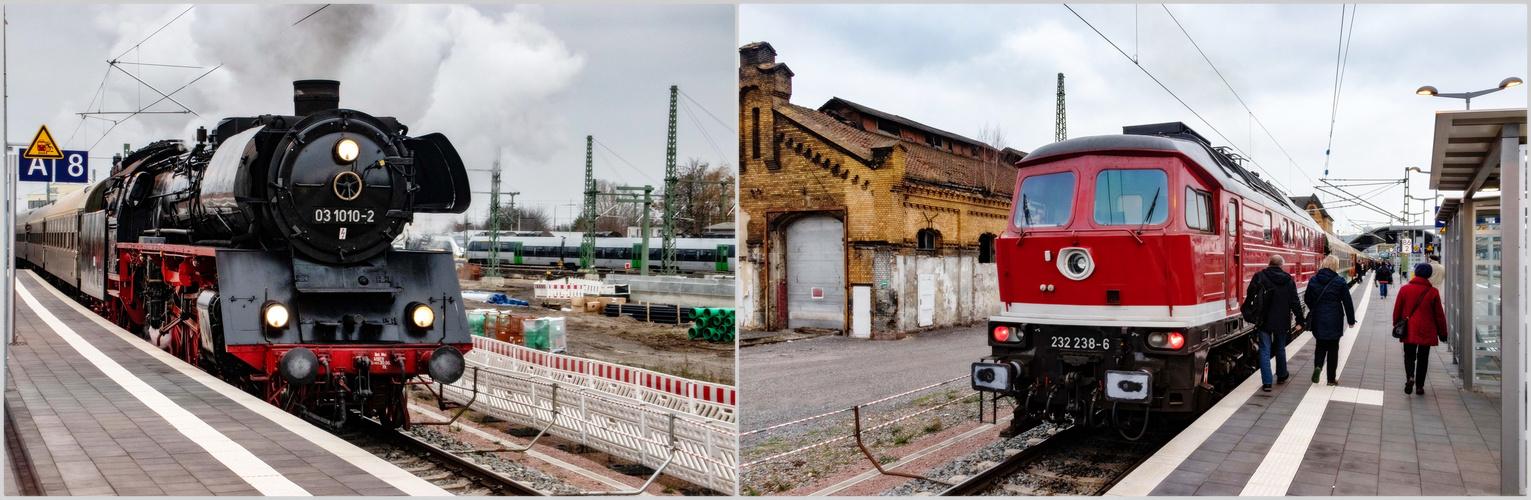 Zug -und Schublok Einfahrt in Halle Saale