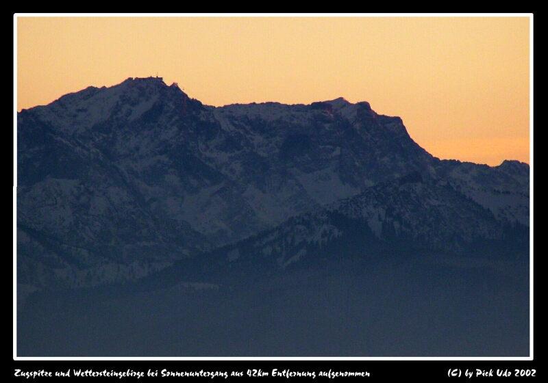 Zugspitze aus 42 km Entfernung aufgenommen