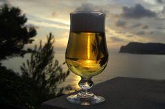 Zum Sonnenuntergang hab ich mich für ein Bier entschieden ...