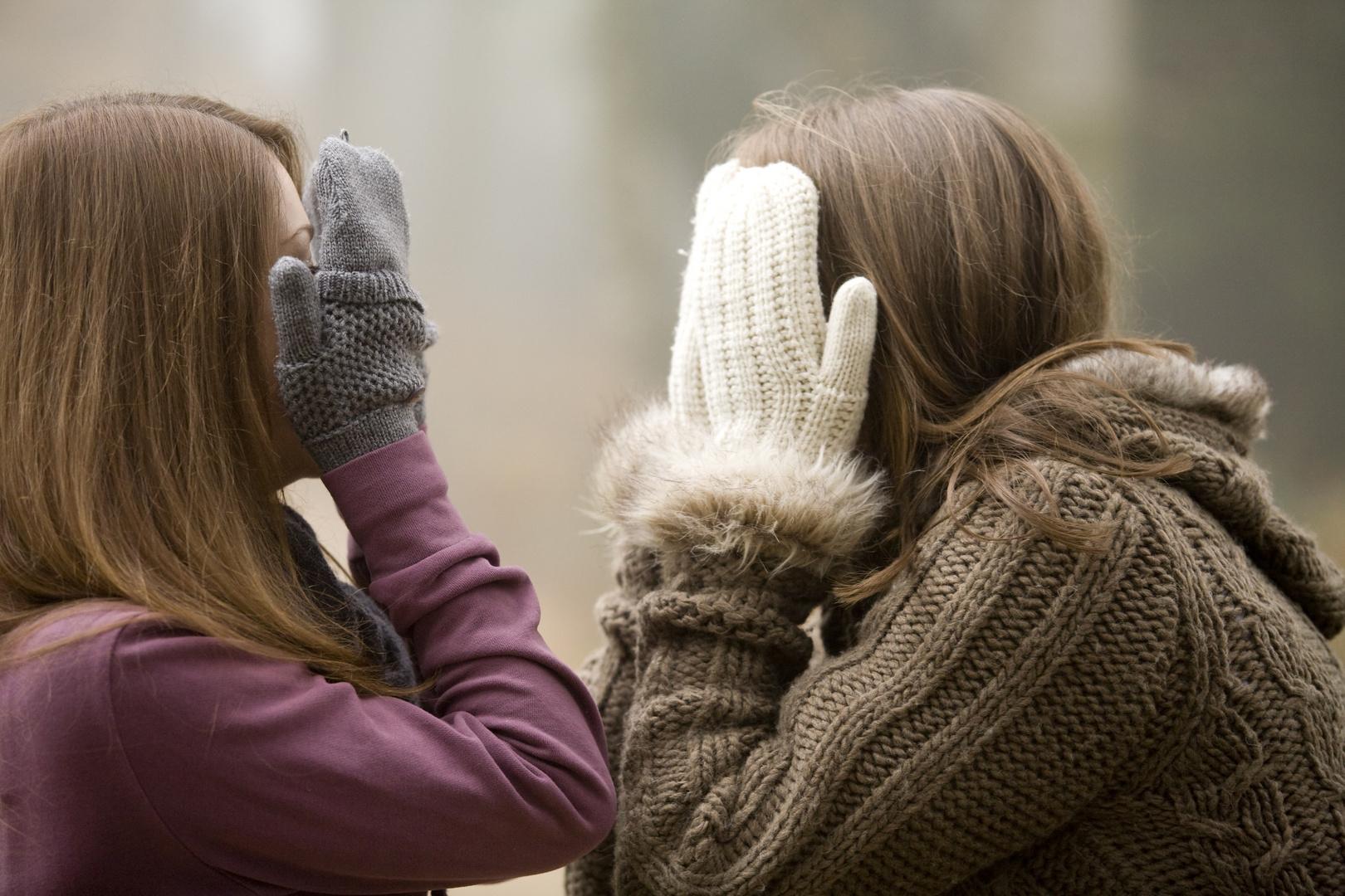 zwei Freundinnen im Nebel