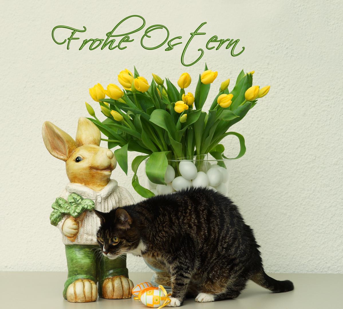 Zwei Hasen wünschen frohe Ostern Foto & Bild | spezial, tulpen ...