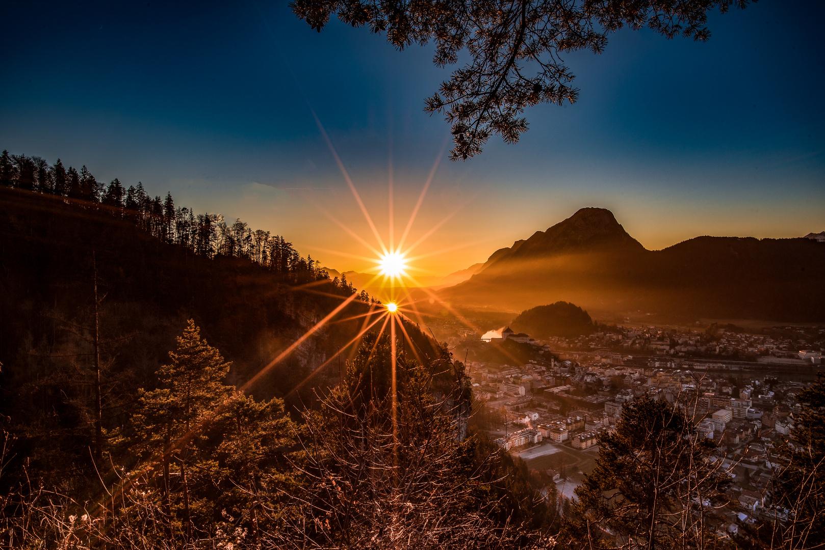 Zwei Sonnen über dem Inntal.