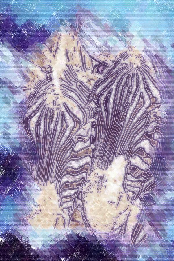 Zwei Zebras in blau